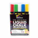 Pack of 5 Assorted Colours Rainbow Chalk 5mm Bullet Nib Liquid Chalk Marker Pens